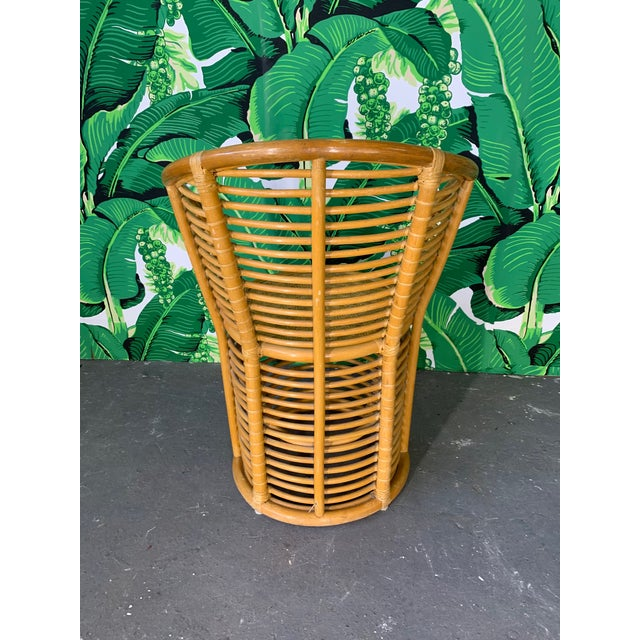 1970s Horizontal Rattan Albini Style Barrel Dining Chairs - Set of 4 For Sale - Image 5 of 7