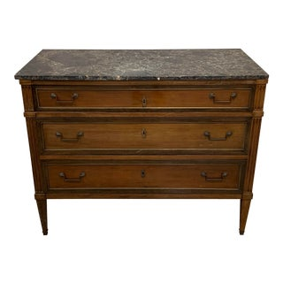 Marble Top Louis XVI Style Walnut Commode For Sale