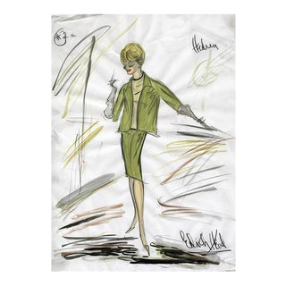 "11x14 Reproduction Print of Original Costume Sketch by Edith Head for Tippi Hedren ""The Birds"" (1963)"