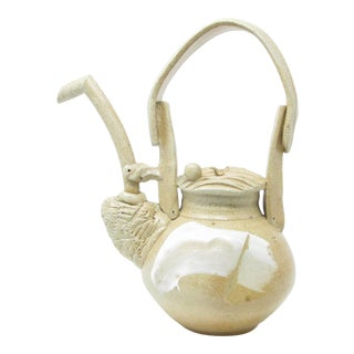 Vintage Decorative Studio Art Pottery Teapot With Abstract Design For Sale