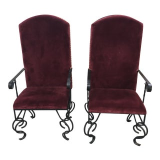 1980s Vintage Wrought Iron Removable Cushion Side Chairs- a Pair For Sale