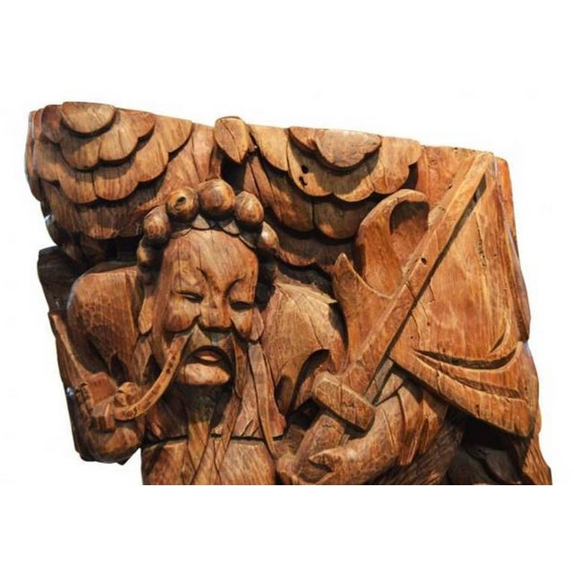 Brown Pair of Antique Hand-Carved Wood Temple Corbels From China, 19th Century For Sale - Image 8 of 11