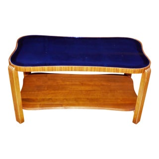 Vintage Art Deco Cobalt Mirror Blue Glass Coffee Table Walnut Cocktail Table For Sale