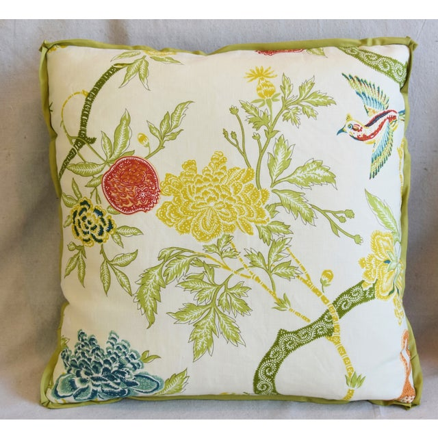 """Chinoiserie Schumacher Arbre Chinois Meadow Chinoiserie Linen & Scalamandre Mohiar Pillows 21"""" Square - Pair For Sale - Image 3 of 13"""