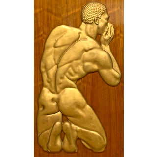 "1940s ""The Whisperer"" Figurative Plaster and Wood Relief Panel For Sale"