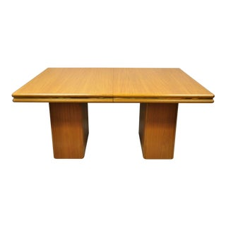 20th Century Danish Modern Sannemann Teak Double Pedestal Dining Table For Sale