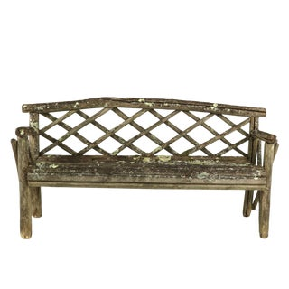 1900s English Lattice Back and Traces of Old Paint & Lichen Rustic Garden Bench For Sale