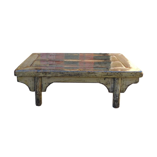 Low Rustic Coffee Table: Chinese Gray Blue Rustic Lacquer Low Coffee Table