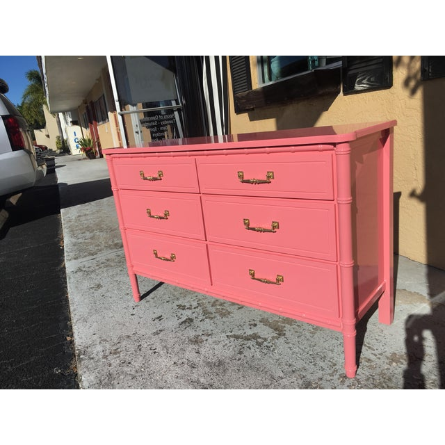 Hollywood Regency Lacquered Pink Faux Bamboo 6 Drawer Lowboy Dresser For Sale - Image 10 of 12
