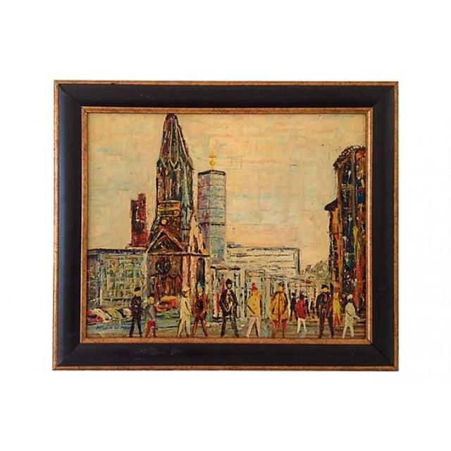 Midcentury Berlin Street Oil Painting - Image 1 of 5