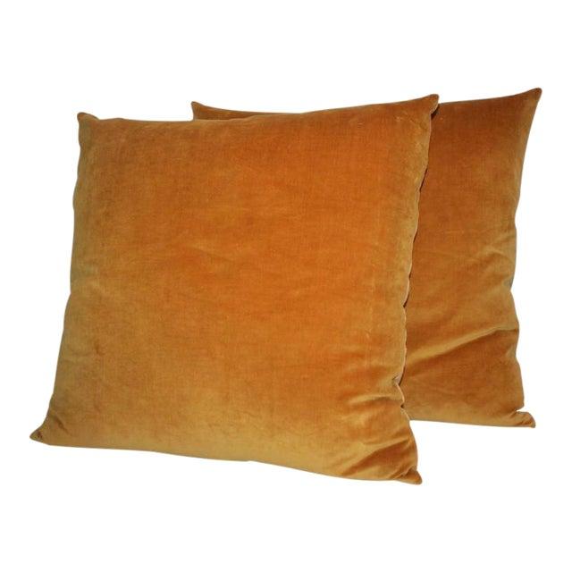 Pair of Sunrise Orange Velvet Pillows For Sale