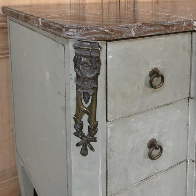 Late 19th Century 19th Century French Louis XVI Painted Marble Top Commode For Sale - Image 5 of 13