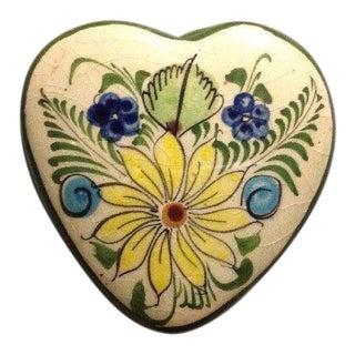 Vintage Tonala Pottery Heart Shaped Trinket Box