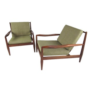 Vintage Modern Walnut Frame Lounge Chairs For Sale