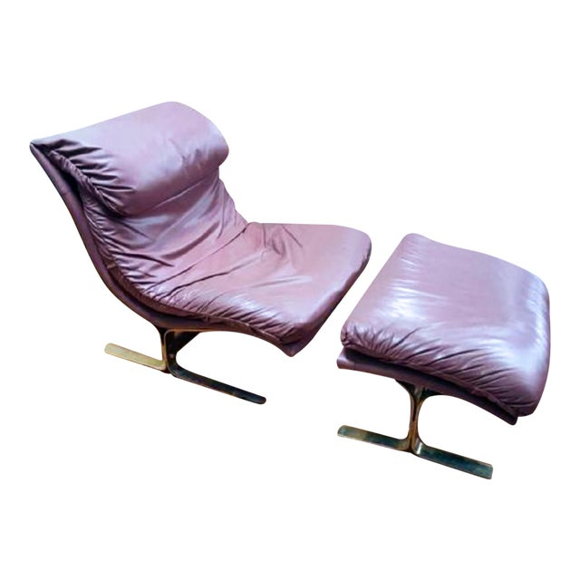 Rare Saporiti - Lane Mid-Century Leather and Brass Chaise - Image 1 of 2