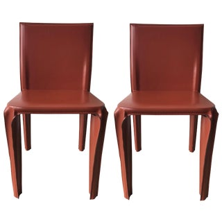 Pair of Red Leather Chairs by Arper, Italy For Sale