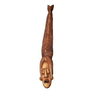 Mid-Century Wood Hand Carved Hanging Sculpture For Sale