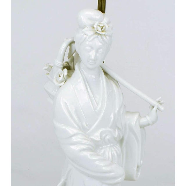 Pair Blanc De Chine Female Figure Table Lamps For Sale In Chicago - Image 6 of 9