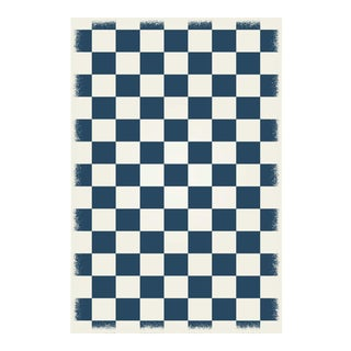 Blue & White English Checkered Rug - 4' X 6'