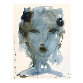 Midnight Blue Face by Leslie Weaver For Sale