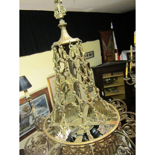 Early 20th Century Art Nouveau Italian Glass and Bronze Floral Chandelier For Sale - Image 9 of 11