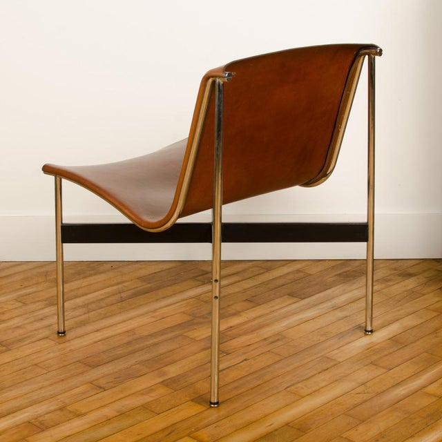 1950s Mid Century Katavolos Littell and Kelley Designed Leather Tan Chair For Sale - Image 5 of 7