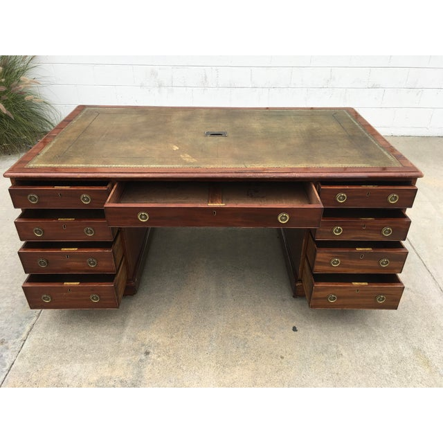 Mid 19th Century 19th Century English Chubb & Son Partners Desk For Sale - Image 5 of 13