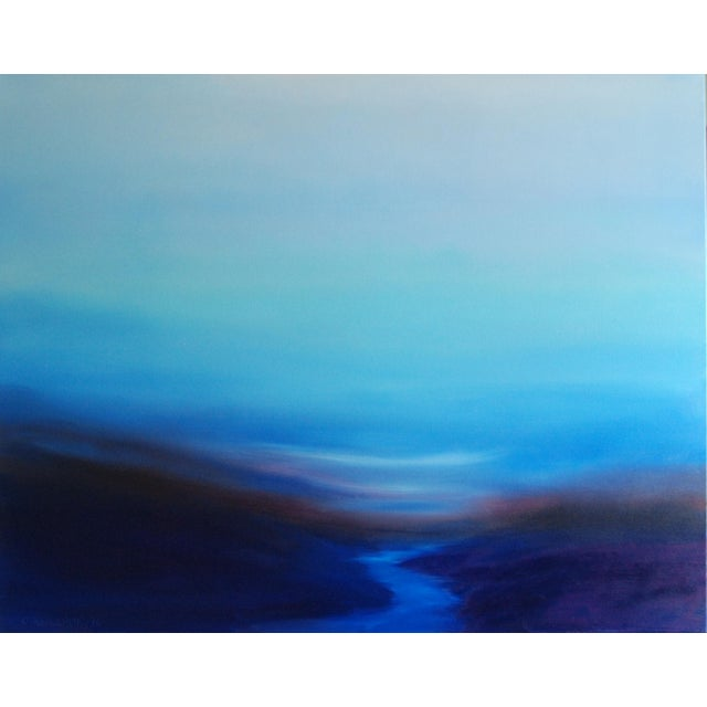 """Gentle Dusk"" Abstract Landscape Original Oil on Canvas - Image 1 of 3"