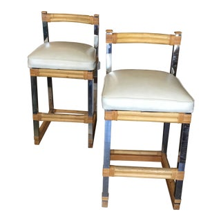 Mid-Century Modern Bamboo Chrome and Leather Counter Stools - a Pair For Sale