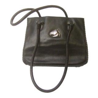 Barry Kieselstein-Cord Sterling Equine Emblem Black Leather Shoulder Bag For Sale