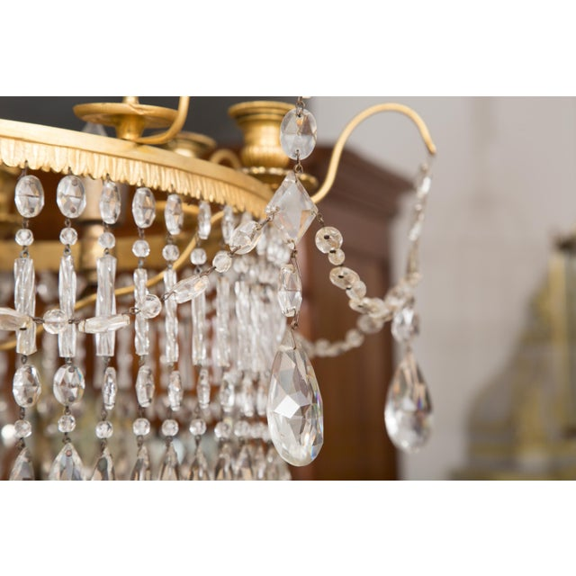 Early 20th Century 19th Century Gilt Metal and Crystal Baltic Chandelier For Sale - Image 5 of 13