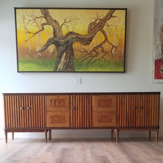 9' Custom Made Italian Credenza With Hand Carved Reliefs For Sale - Image 12 of 13