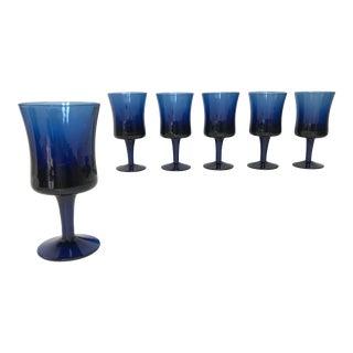 Cobalt Blue Wine Glasses, S/6 For Sale