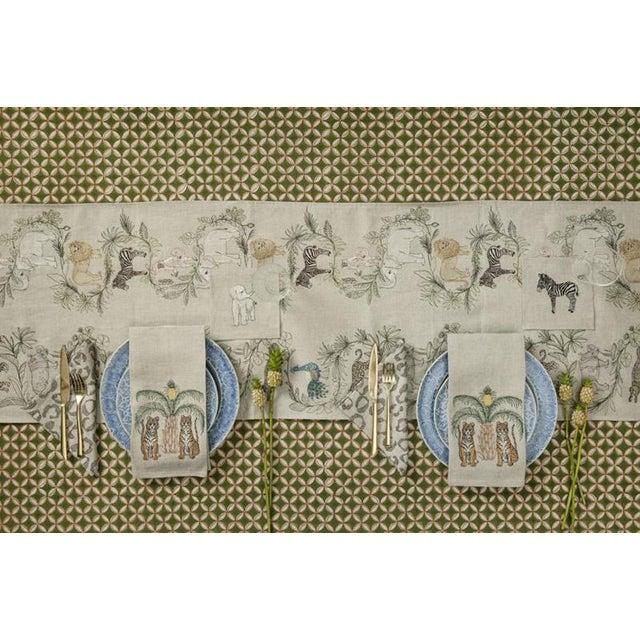 2010s French Ecru Linen Safari Table Runner For Sale - Image 6 of 8