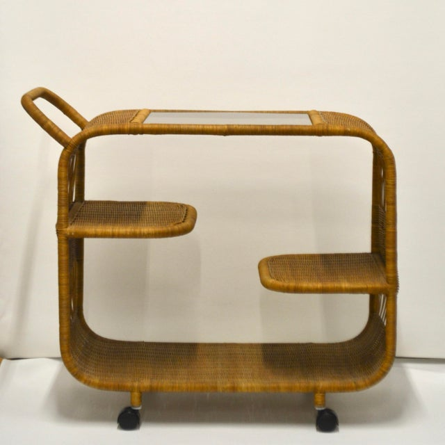 Mid-Century Modern 1960s Mid-Century Woven Rattan Bar Cart For Sale - Image 3 of 12