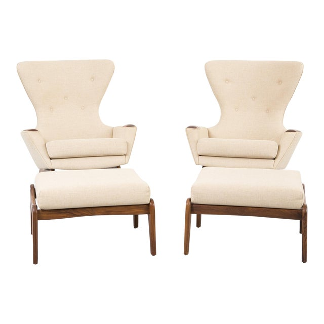 Set of Adrian Pearsall Wingback Chairs + Ottomans For Sale