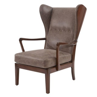 Remarkble Scandinavian Leather Wingback Chair For Sale