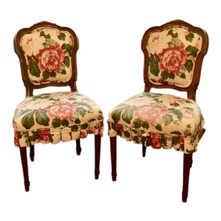 Floral Upholstered Side Chairs - A Pair