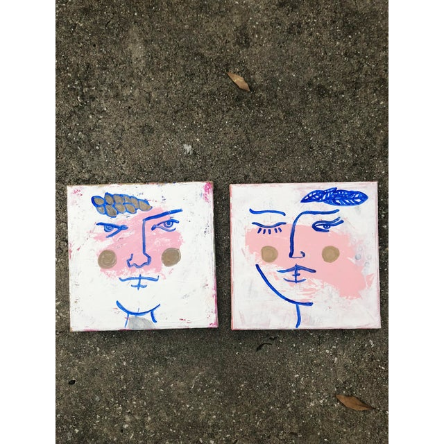 Original portrait of a woman in gold, pink, blue and white by artist Virginia Chamlee. There are two complementary...