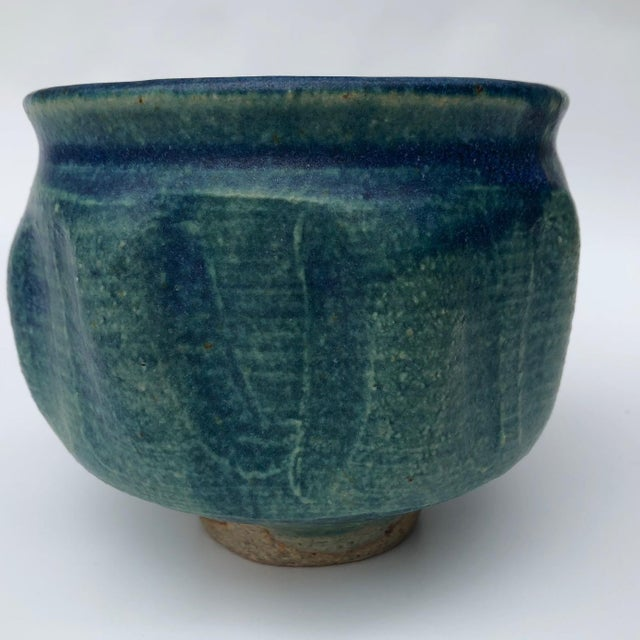 Mid-Century Blue Green Glazed Studio Pottery Bowl / Planter For Sale - Image 4 of 13