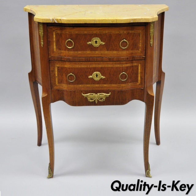 French Louis XV Style Inlaid Marble Top Bombe Nightstand For Sale - Image 11 of 11