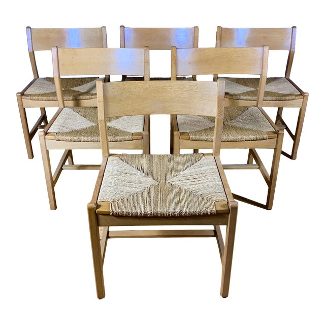 1960s Vintage Børge Mogensen Bm2 Oak & Papercord Dining Chairs- Set of6 For Sale
