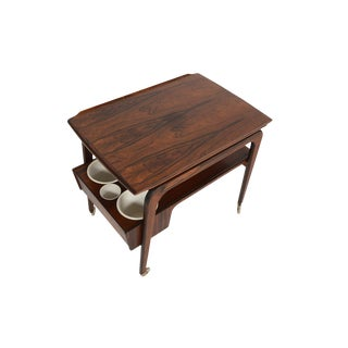 Danish Modern Rosewood Bar Cart With Tray