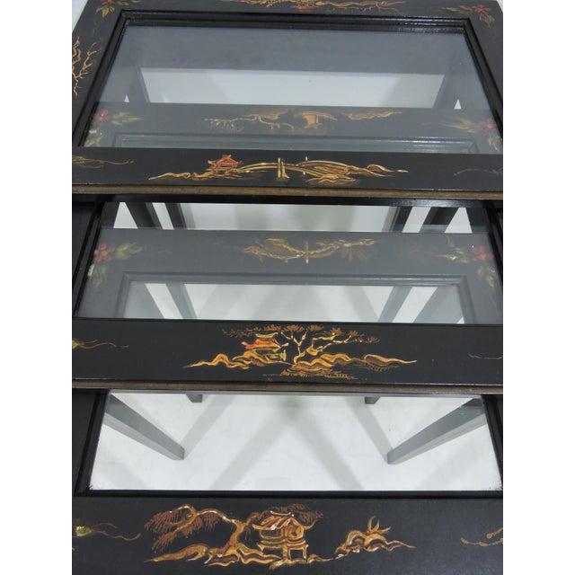 Vintage Black Japanned 'Pagoda & Landscape' Asian Glass Top Nesting / Side Tables - Set of 3 For Sale - Image 9 of 9