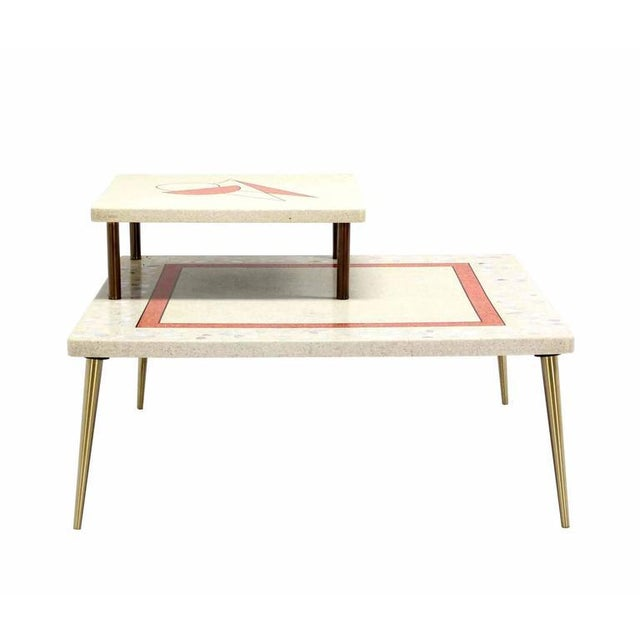 Mid-Century Modern Geometric Design Tapered Legs Travertine Two Tier Corner Table For Sale - Image 3 of 6