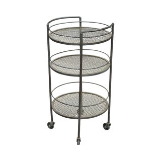 Vintage Wrought Iron 3 Tier Patio Garden Bar Cart For Sale