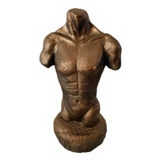 Figurative Nude Male Torso Bronze Sculpture by Taun For Sale