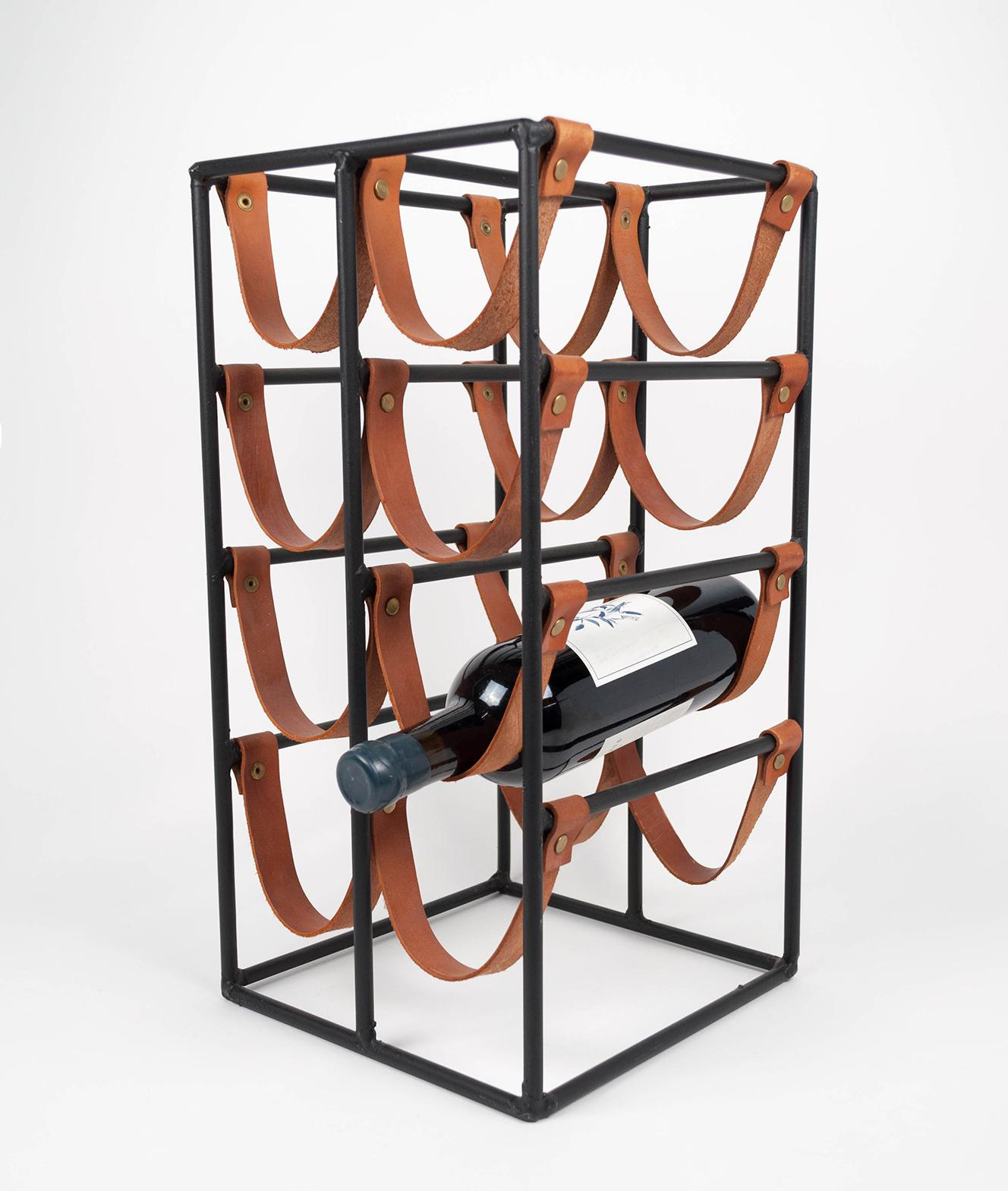 Arthur Umanoff Iron U Leather Bottle Wine Rack For Shaver