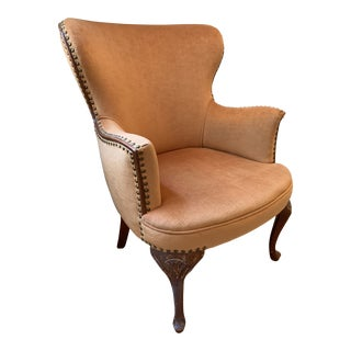 Vintage Orange Wingback Chair With Nail Head Trim For Sale