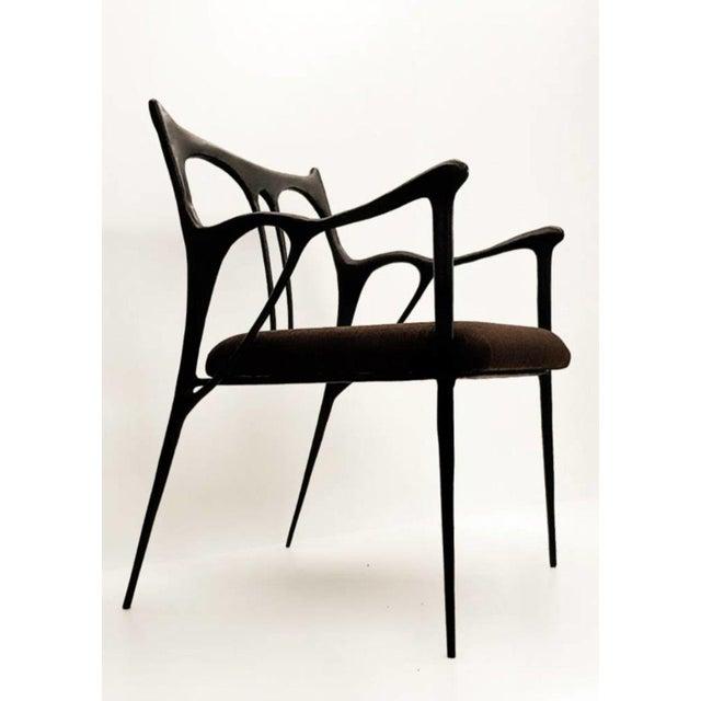 Black brass sculpted brass chair, Misaya Dimensions: W 54 x L 58 x H 79 cm (seating: 63) Hand-sculpted chair in brass....